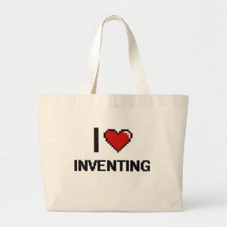 I Love Inventing Digital Retro Design Jumbo Tote Bag