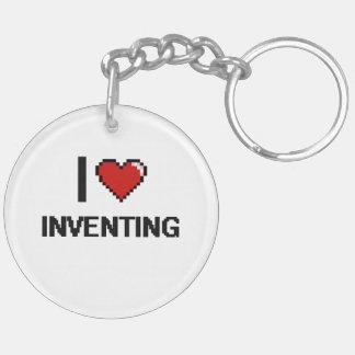 I Love Inventing Digital Retro Design Double-Sided Round Acrylic Keychain