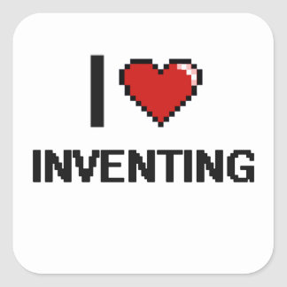 I Love Inventing Digital Retro Design Square Sticker
