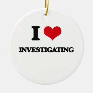 I Love Investigating Double-Sided Ceramic Round Christmas Ornament