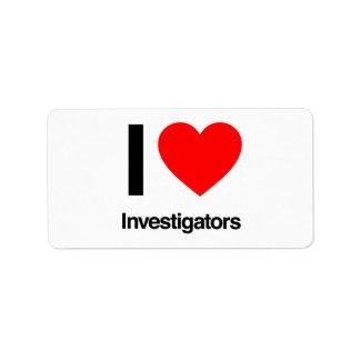 i love investigators address label