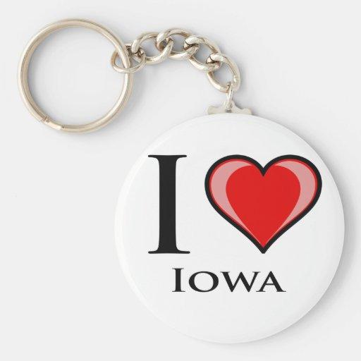 I Love Iowa Basic Round Button Keychain