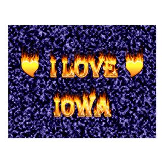 I love Iowa flames and fire Postcard