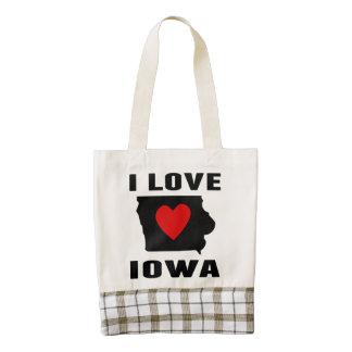 I Love Iowa Zazzle HEART Tote Bag