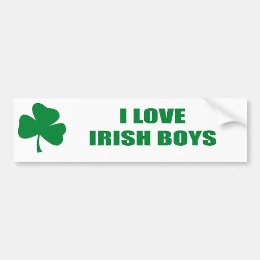 I LOVE IRISH BOYS BUMPER STICKER | Zazzle