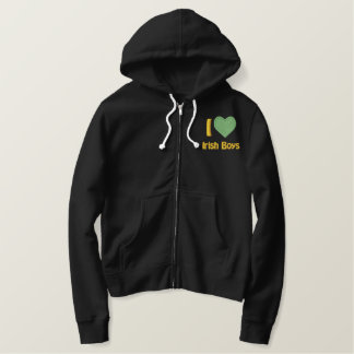 I Love Irish Boys Embroidered Womens Embroidered Hoodie