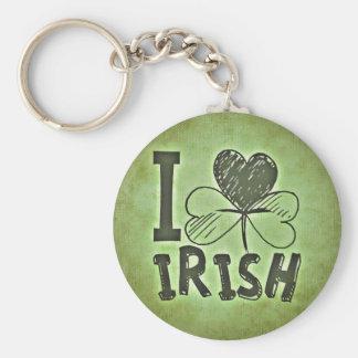 I Love Irish Button Keychain