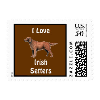 I Love Irish Setters Dog Postage Stamp for letters