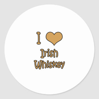 I Love Irish Whiskey Classic Round Sticker