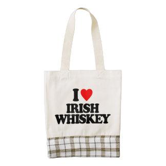 I LOVE IRISH WHISKEY ZAZZLE HEART TOTE BAG