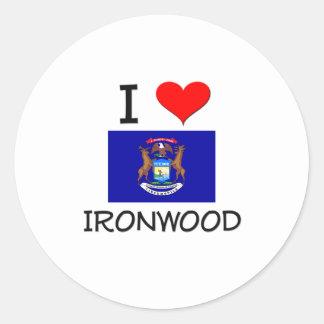 I Love Ironwood Michigan Round Sticker
