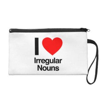 i love irregular nouns wristlet clutch