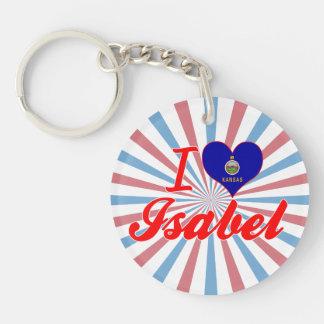 I Love Isabel, Kansas Single-Sided Round Acrylic Keychain