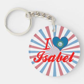 I Love Isabel, South Dakota Single-Sided Round Acrylic Keychain
