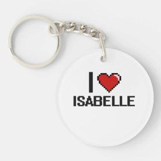 I Love Isabelle Digital Retro Design Single-Sided Round Acrylic Keychain
