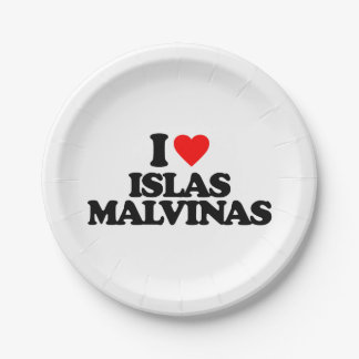 I LOVE ISLAS MALVINAS PAPER PLATE