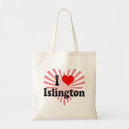 I Love Islington, United Kingdom Canvas Bags