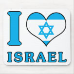 I Love Israel - Flag with Magen David Mouse Pad