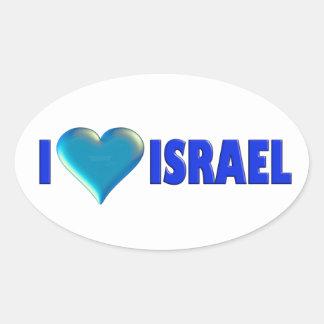 I Love Israel Oval Sticker