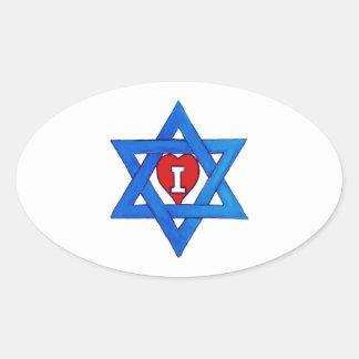 I LOVE ISRAEL! OVAL STICKER