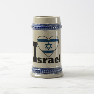 I Love Israel - with large Flag of Israel heart Beer Stein