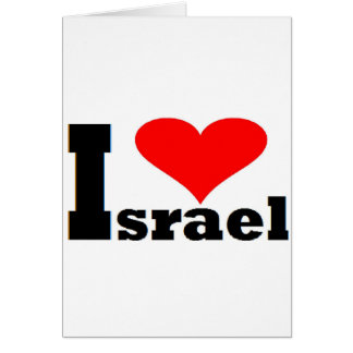 I love Israel - with large red heart Card