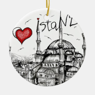 I love Istanbul Double-Sided Ceramic Round Christmas Ornament