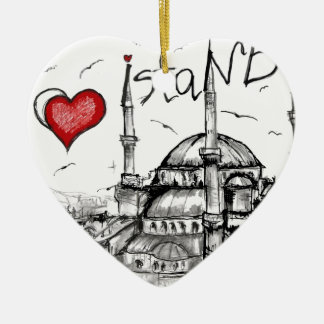 I love Istanbul Double-Sided Heart Ceramic Christmas Ornament