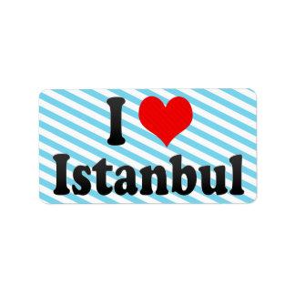 I Love Istanbul, Turkey Address Label