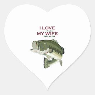 I Love It When My Wife Lets Me Fish Heart Sticker