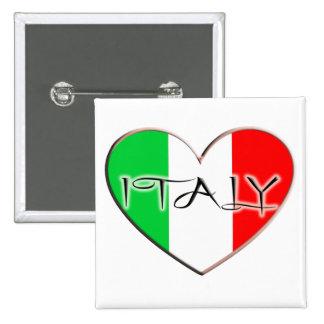 I LOVE ITALY 2 INCH SQUARE BUTTON