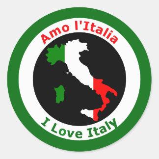 I LOVE ITALY CLASSIC ROUND STICKER