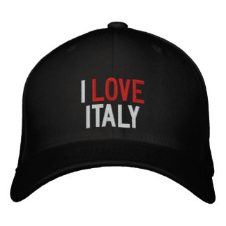 I LOVE ITALY EMBROIDERED BASEBALL HAT