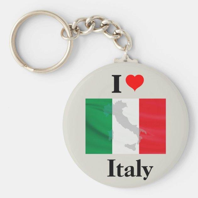 Vintage Italian Flag Italy Rectangle Keychain Key Ring