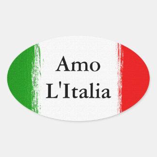 I love Italy.Flag of Italy. Oval Sticker