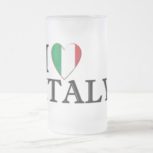 I love Italy Frosted Glass Beer Mug