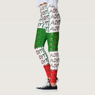 I Love Italy Italian Flag Colors Typography Funny Leggings