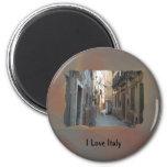 I Love Italy - Italian Side Street Refrigerator Magnet