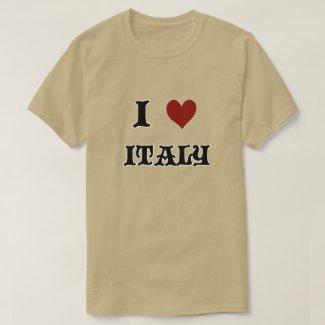 I Love Italy Mens Brown T-Shirt