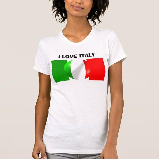I Love Italy Tee Shirt - Italian Flag With Bubble