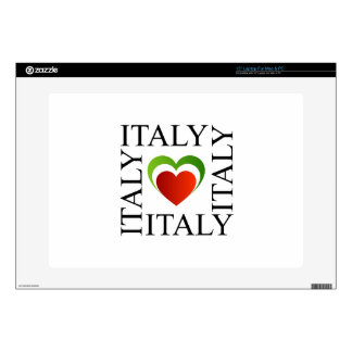 "I love italy with italian flag colors 15"" laptop skin"