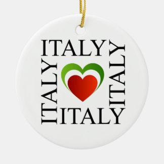 I love italy with italian flag colors ceramic ornament