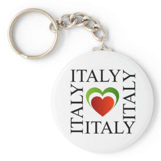 I love italy with italian flag colors keychain