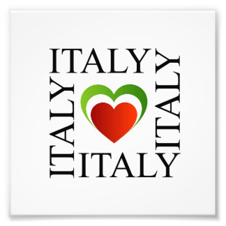 I love italy with italian flag colors photo print