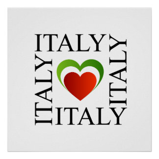 I love italy with italian flag colors poster