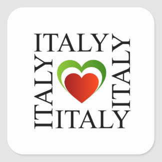 I love italy with italian flag colors square sticker