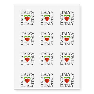 I love italy with italian flag colors temporary tattoos