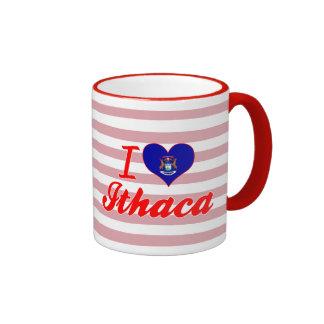 I Love Ithaca, Michigan Ringer Coffee Mug