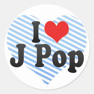 I Love J Pop Round Sticker