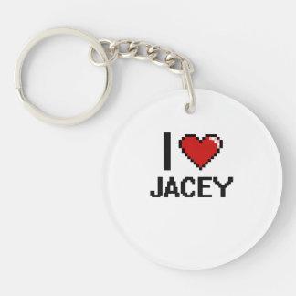 I Love Jacey Digital Retro Design Single-Sided Round Acrylic Keychain